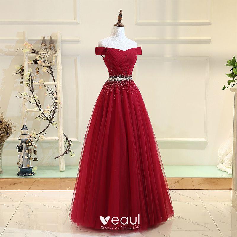 Chic Belle Bordeaux Robe De Bal 2017 Princesse Tulle Dos Nu Perlage Faux Diamant Promo Robe