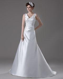 V Halsen Golv Langd Veckade Beading Blomma Satin En Linje Brudklänningar Bröllopsklänningar