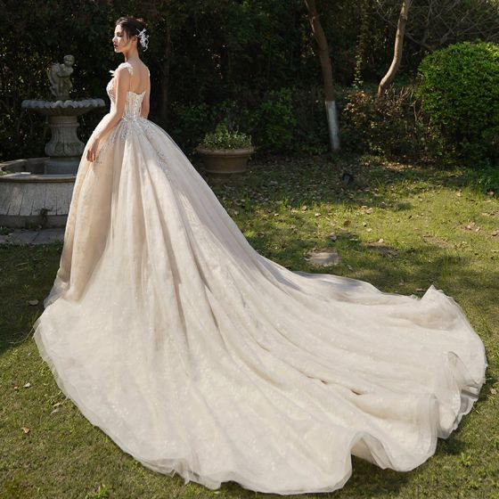 Luxury / Gorgeous Champagne Wedding Dresses 2019 A-Line / Princess Spaghetti Straps Sleeveless Backless Appliques Lace Beading Cathedral Train Ruffle