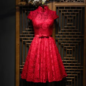 Chic / Beautiful Red Formal Dresses Evening Dresses  2017 Lace Flower Bow Short High Neck Short Sleeve A-Line / Princess