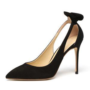 Elegantes Negro Casual Zapatos De Mujer 2019 Cuero Suede Bowknot 10 cm Stilettos / Tacones De Aguja Punta Estrecha High Heels