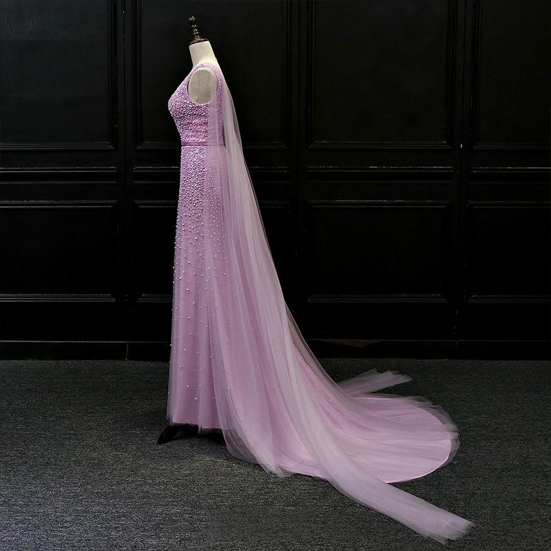 Luxury / Gorgeous Lilac Evening Dresses  2018 Trumpet / Mermaid V-Neck Sleeveless Beading Sash Watteau Train Ruffle Backless Formal Dresses