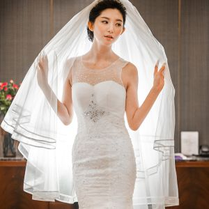 Modest / Simple White Short Wedding Veils 2020 Tulle Striped Wedding Accessories