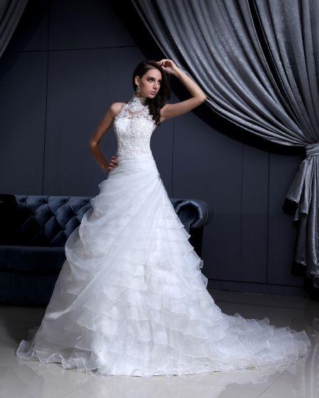 Hog Hals Spets Beading Kapell A-line Brudklänningar Bröllopsklänningar