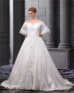 Organza Perles Cour Cherie Applique Plus La Taille Robe De Mariage Nuptiale Robe