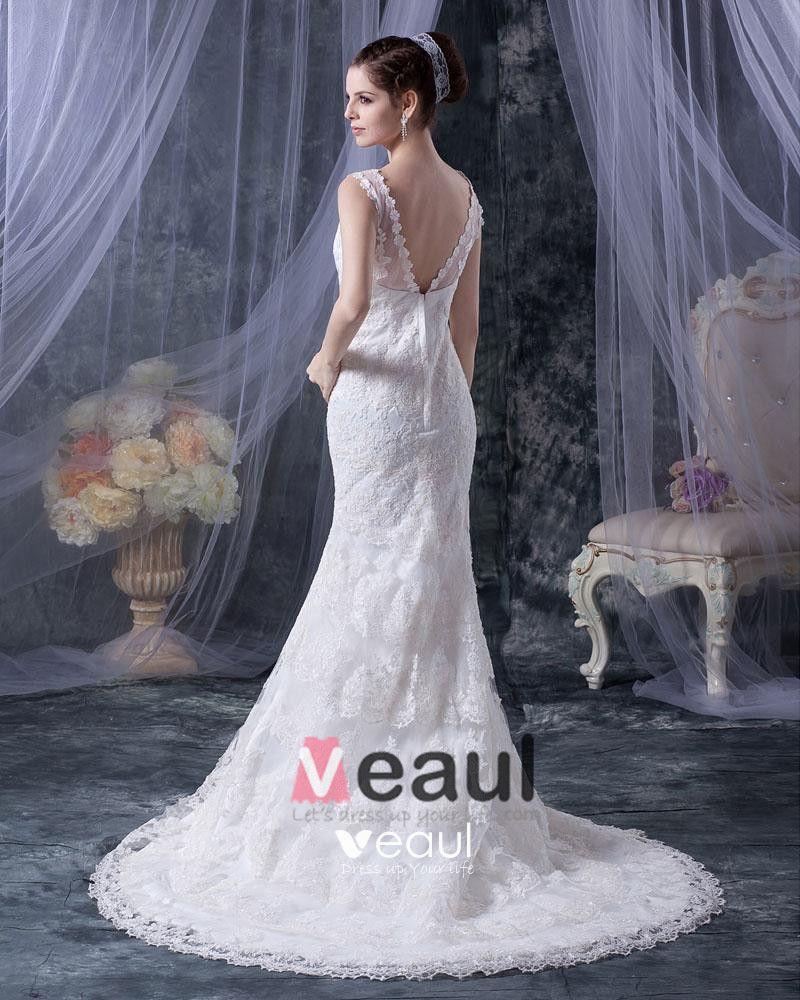 Lace Satin Tiered V-neck Mermaid Chapel Train Wedding Dress