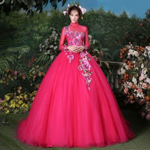 Traditional Fuchsia Prom Dresses 2018 Ball Gown Crystal Pearl Embroidered High Neck Backless Long Sleeve Sweep Train Formal Dresses