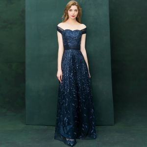Elegant Navy Blue Evening Dresses  2019 A-Line / Princess Off-The-Shoulder Short Sleeve Appliques Lace Sequins Floor-Length / Long Ruffle Backless Formal Dresses