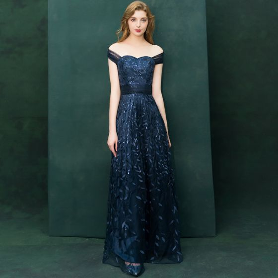 Elegant Navy Blue Evening Dresses  2019 A-Line / Princess Off-The-Shoulder Short Sleeve Appliques Lace Sequins Floor-Length / Long Ruffle Backless Formal Dresses