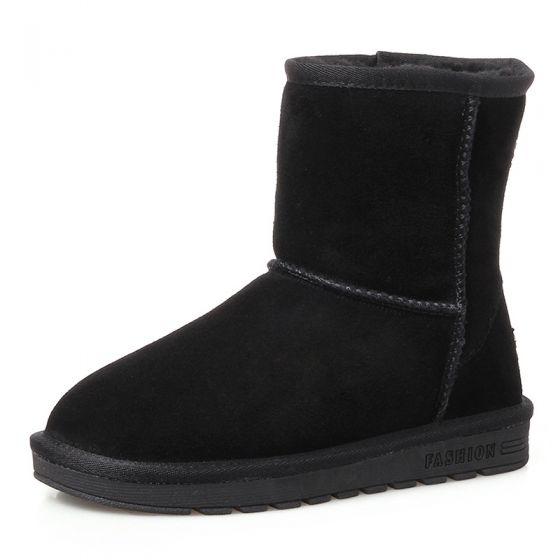 Modest / Simple Womens Boots 2017 Black Leather Mid Calf Suede Casual Winter Flat Snow Boots
