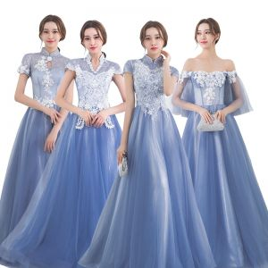Chic / Beautiful Sky Blue Bridesmaid Dresses 2017 A-Line / Princess High Neck Short Sleeve Appliques Lace Floor-Length / Long Backless Wedding Party Dresses