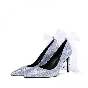 Luxury / Gorgeous Sparkly Silver Wedding Shoes 2019 Bow Leather Rhinestone 9 cm Stiletto Heels Pointed Toe Wedding Pumps