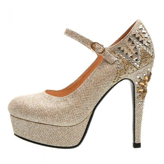Scintillantes Doré Chaussure De Mariée 2019 Cuir Glitter Faux Diamant 12 cm Talons Aiguilles À Bout Pointu Mariage Escarpins