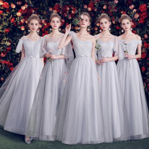 Chic / Beautiful Grey Bridesmaid Dresses 2019 A-Line / Princess Spotted Tulle Bow Sash Floor-Length / Long Ruffle Backless Wedding Party Dresses