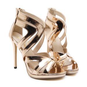 Sexy Gull Aften Sandaler Dame 2020 12 cm Stiletthæler Peep Toe Sandaler