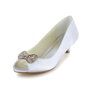 Sparkly Peep Toe White Satin Kitten Heels Pumps Wedding Shoes With Rhinestone Bow