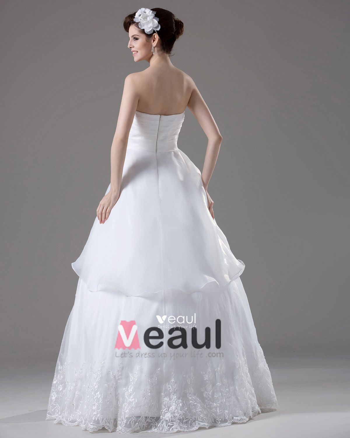 Strapless Embroidery Beading Pleated Floor Length Yarn Ball Gown Wedding Dress