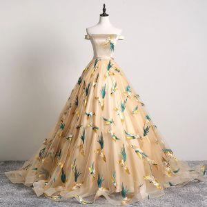 Klasyczna Szampan Sukienki Na Bal 2019 Princessa Przy Ramieniu Haftowane Bez Rękawów Bez Pleców Trenem Sąd Sukienki Wizytowe