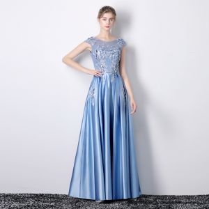 Chic / Beautiful Pool Blue Evening Dresses  2019 A-Line / Princess Scoop Neck Appliques Lace Flower Rhinestone Sleeveless Backless Floor-Length / Long Formal Dresses