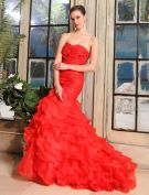 2015 Mermaid Sweetheart Sweep Train Organza Satin Wedding Dress With Cascading Ruffles