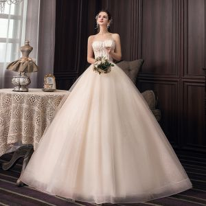 Fashion Champagne Corset Wedding Dresses 2020 Ball Gown Strapless Glitter Tulle Lace Flower Sleeveless Backless Floor-Length / Long