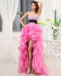 Sweetheart Decollete Sans Manches Perlage Longueur Asymetrique Volants En Soie Femme Grande Robe De Bal Bas
