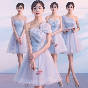 Discount Silver Summer Bridesmaid Dresses 2018 A-Line / Princess Short Ruffle Backless Wedding Party Dresses