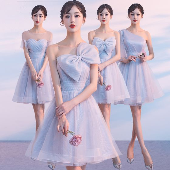 Silver Summer Bridesmaid Dresses 2018 A Line Princess Short Ruffle Backless Wedding Party