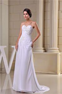 2015 Elegant A-line Sweetheart Appliques Ruffle Sweep Wedding Dresses Bridal Gown