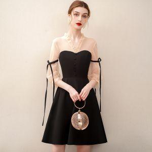 Elegant Black Homecoming Short Graduation Dresses 2020 A-Line / Princess V-Neck 3/4 Sleeve Formal Dresses