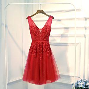 Chic / Belle Rouge Robe De Ceremonie Robe De Soirée 2017 En Dentelle Fleur Perle Lanières V-Cou Sans Manches Courte Princesse