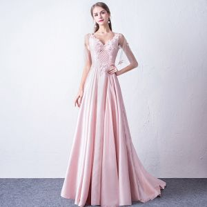 Chic / Beautiful Candy Pink Evening Dresses  2017 A-Line / Princess V-Neck Tulle Appliques Backless Beading Evening Party Formal Dresses