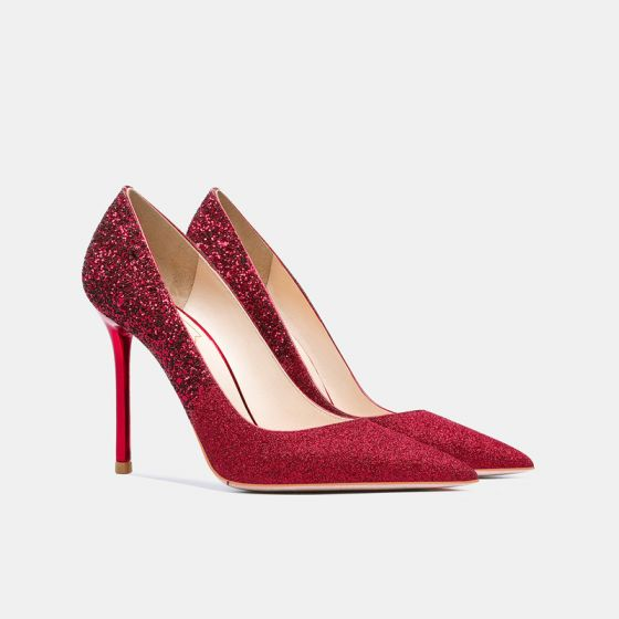 Charmig Röd Bröllop Läder Paljetter Brudskor 2021 10 cm Stilettklackar Spetsiga Pumps