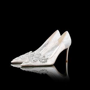 Luksusowe Białe Buty Ślubne Ślub Wieczorowe Koronkowe Guma Frezowanie Kryształ Rhinestone Szpiczaste Buty Damskie 2019