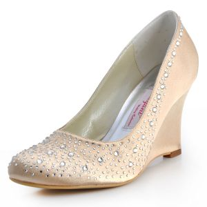 The New Slope With Rhinestone Handmade Custom Bridal Satin Wedding Shoes Party Shoes