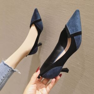 Chic / Beautiful Navy Blue Casual Pumps 2020 Suede 7 cm Stiletto Heels Pointed Toe Pumps