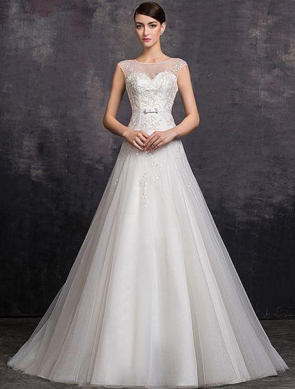 Eleganta En-line Fyrkantig Ringning Beading Paljetter Organza Bröllopsklänning