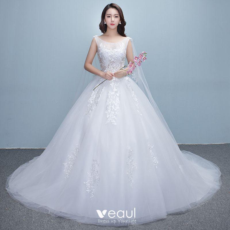 d07ef9411b53c Chic / Beautiful Church Wedding Dresses 2017 White Ball Gown Royal ...