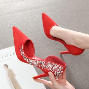 Mode Rouge Soirée Chaussures Femmes 2020 Faux Diamant 9 cm Talons Aiguilles À Bout Pointu Talons