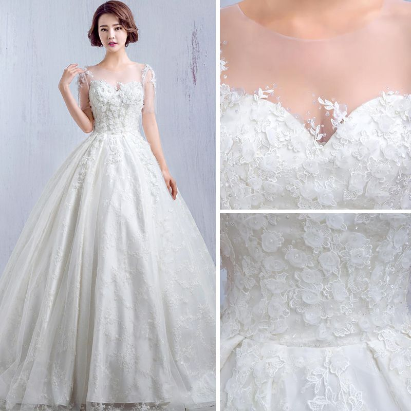Chic / Beautiful Church Wedding Dresses 2017 White A-Line / Princess Cathedral Train Cascading Ruffles Scoop Neck Short Sleeve Backless Lace Appliques Flower Crystal Sequins Beading