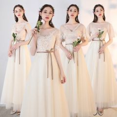 Chic / Beautiful Champagne See-through Bridesmaid Dresses 2019 A-Line / Princess Appliques Lace Sash Ankle Length Ruffle Backless Wedding Party Dresses