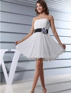Strapless Black Sash With Flower Pleated Chiffon Cocktail Dresses