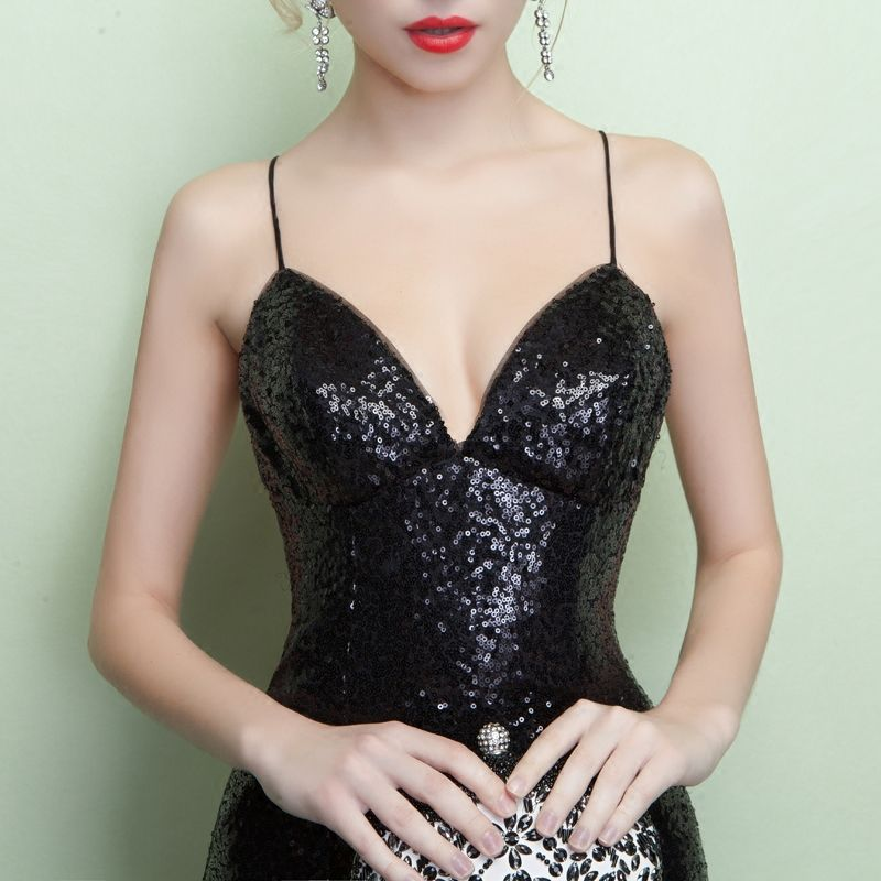 Chic / Beautiful 2017 Trumpet / Mermaid Black Crossed Straps Sequins Floor-Length / Long Lace V-Neck Casual Cocktail Party Evening Party Summer Sleeveless Evening Dresses