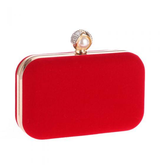 Modest / Simple Red Suede Pearl Rhinestone Metal Clutch Bags 2018