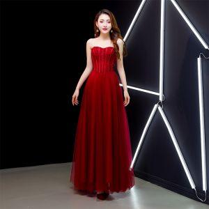 Chic / Belle Bordeaux Robe De Bal 2019 Princesse Bretelles Spaghetti Daim Noeud Sans Manches Dos Nu Longue Robe De Ceremonie
