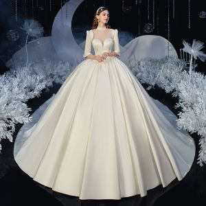 Vintage / Retro Ivory Satin Bridal Wedding Dresses 2020 Ball Gown See-through High Neck 1/2 Sleeves Backless Cathedral Train Ruffle