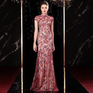 High End Rot Cheongsam Abendkleider 2020 Meerjungfrau Durchsichtige Stehkragen Kurze Ärmel Stickerei Pailletten Glanz Tülle Lange Festliche Kleider