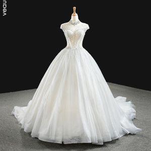 Luxus Hvide Bryllups Brudekjoler 2020 Balkjole Gennemsigtig Høj Hals Ærmeløs Halterneck Håndlavet Beading Glitter Tulle Chapel Train Flæse