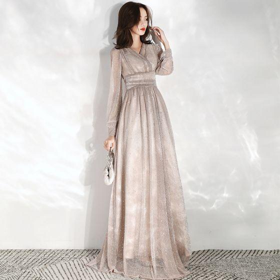 Piękne Szampan Sukienki Wieczorowe 2020 Imperium V-Szyja Bufiasta Długie Rękawy Cekinami Tiulowe Długie Wzburzyć Bez Pleców Sukienki Wizytowe