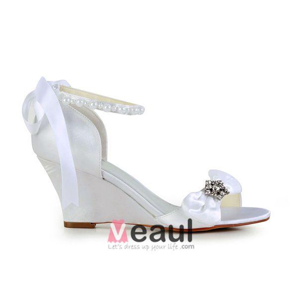 Elegant Open Toe Mid Wedges White Satin Sandals Bridal Wedding Shoes With Bow Rhinestone Pearl